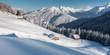 Winterpanorama mit Schihütten im Zillertal Tirol