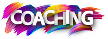 Coaching Card With Colorful Brush Strokes.