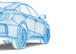 X-ray of a car / 3D render image representing a X-ray of a car
