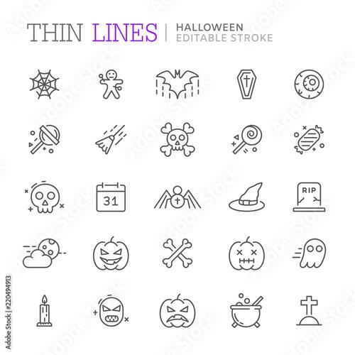 Fototapeta Collection of halloween related line icons. Editable stroke obraz na płótnie