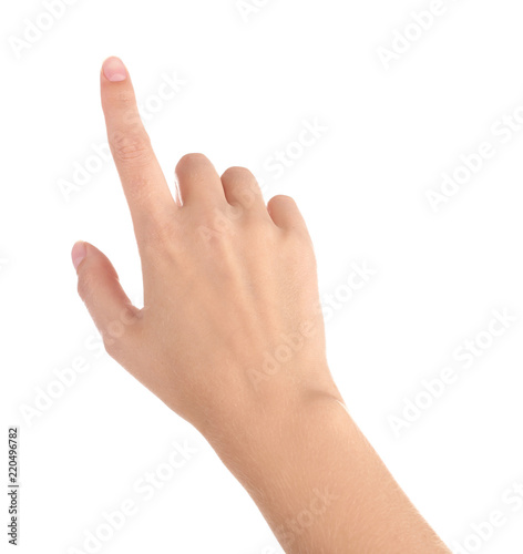 Foto Abstract young woman's hand on white background