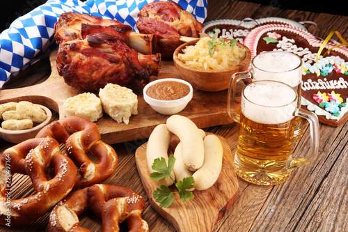 Traditional German cuisine, Schweinshaxe roasted ham hock Fototapete