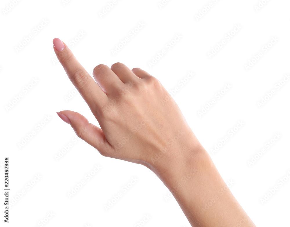 Fototapeta Woman pointing to something on white background, closeup