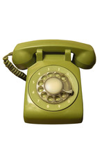 Old Green Rotary Telephone Iso...