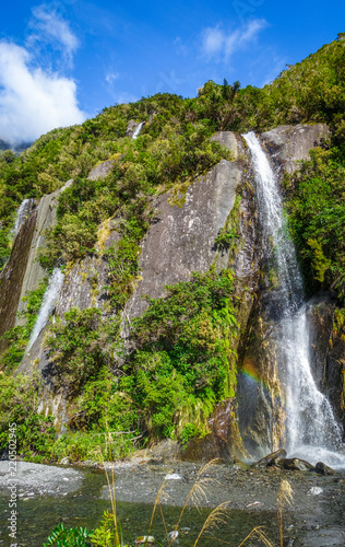 Spoed Foto op Canvas Oceanië Franz Josef glacier waterfalls, New Zealand