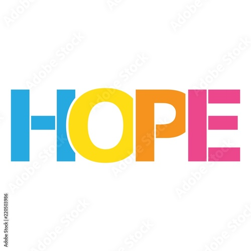HOPE color vector letters icon Wallpaper Mural