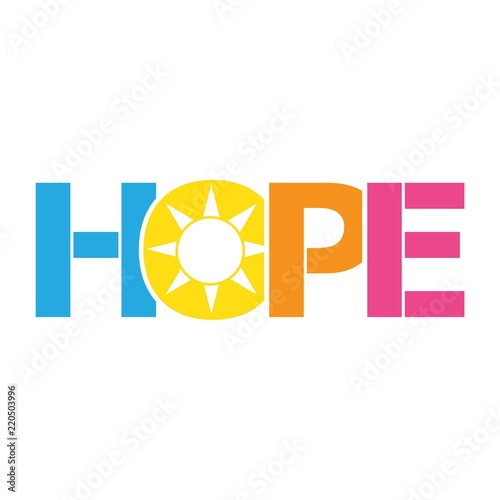 Photo  HOPE color vector letters icon
