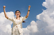 Successful businesswoman with blue sky cloud. Cloud computing, Online technology, Expressing Background for advertising.