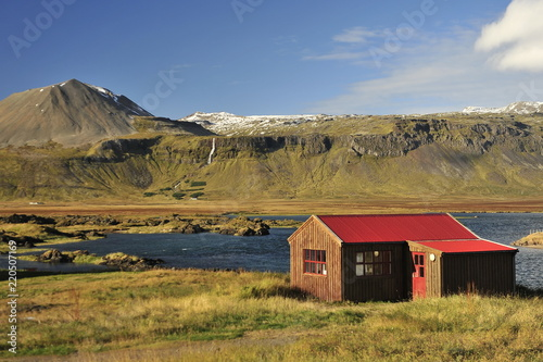 Icelandic landscapes are often decorated with free-standing buildings.