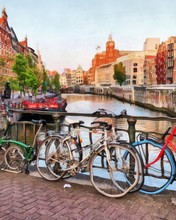 Oil Painting. Art Print For Wall Decor. Acrylic Artwork. Big Size Poster. Watercolor Drawing. Modern Style Fine Art. Travel. Tourism. Amsterdam. Bicyсles On The Bridge. Holland. Art For Sale.