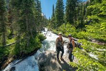 Hiking Through Cascade Canyon Trail To Hidden Falls Of Grand Teton National Park, Wyoming USA.