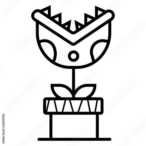 Canvas Print Carnivorous plant icon vector illustration