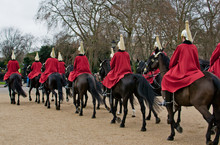 Horseguards Ride Toward Buckingham Palace For The Changing Of The Guard