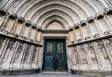South Door, Cathedral Of Saint Mary Of Girona, Girona, Catalonia, Spain.
