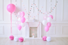 Children Birthday. Decorations For Holiday Party. A Lot Of Balloons Pink And White Colors.