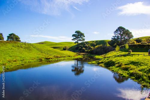 Photo  Hobbiton Filmlandschaft von Herr der Ringe in Neuseeland