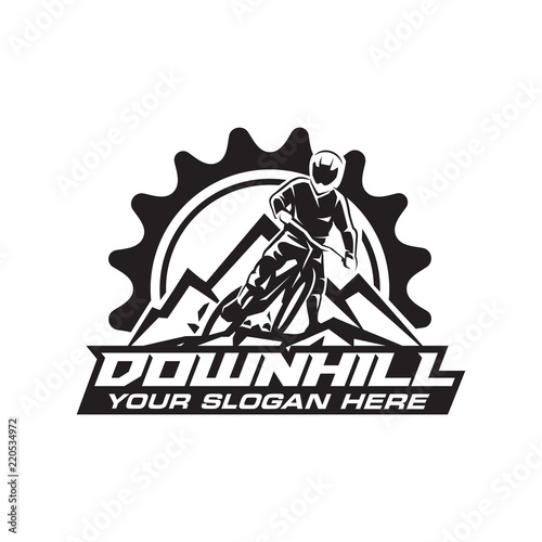 Stampa su Tela Downhill Bicycle Logo Vector
