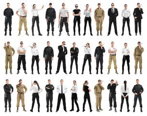 Set with security guards on white background