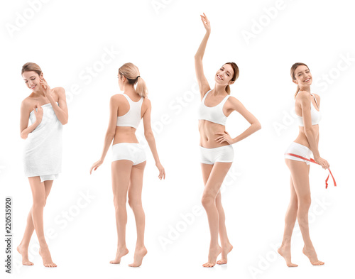 Obraz Set with young woman on white background. Beauty and body care - fototapety do salonu
