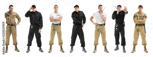 Stampa su Tela Set with security guard on white background