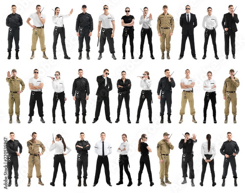 Carta da parati Set with security guards on white background