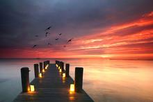 Romantischer Abend Am Meer