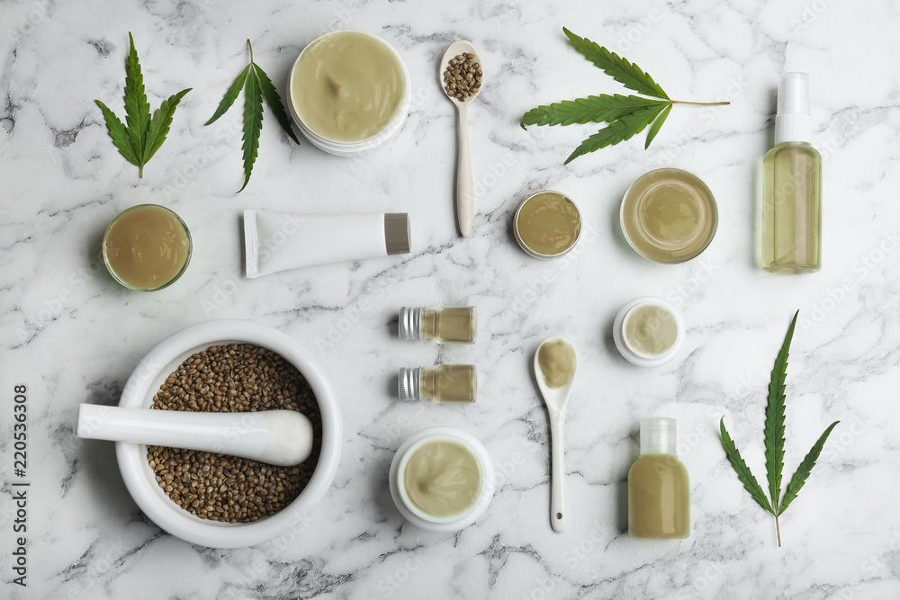 Fototapety, obrazy: Flat lay composition with hemp lotion on marble background