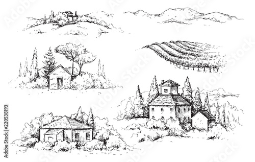 Fotobehang Wit Rural Scene with Houses, Vineyard and Trees Sketch