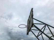 Defective Old Outdoor Basketball Hoop