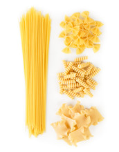 A Set Of Spaghetti And Pasta On A White. The View From The Top