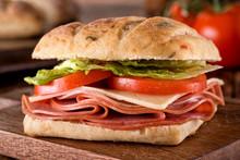 Deli Sandwich On Ciabatta Bread