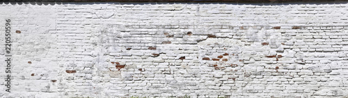 Fotografie, Obraz  Rustikale Ziegelmauer, weiss getüncht