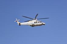 Rome, Italy 12/1/2017 Italian Police Helicopter In Flight Patrol On Roman Sky