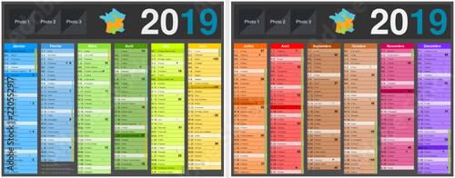 Valokuva  Calendrier 2019 avec vacances scolaires officielles au format 210 x 265 mm recto