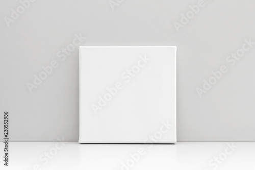 Fototapeta White square canvas on neutral gray background