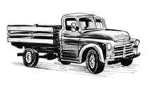 Vintage American Truck. Ink Black And White Illustration