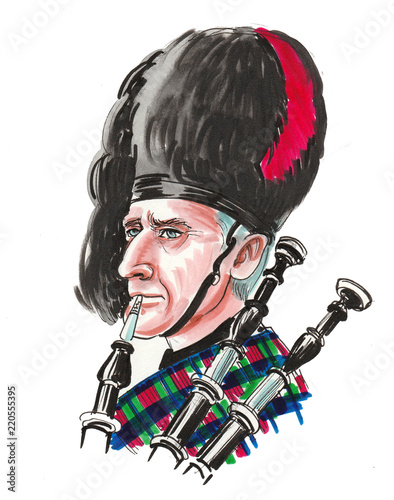 Photo Stands Fairies and elves Scottish bagpiper. Ink and watercolor illustration