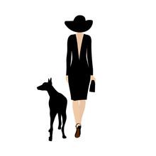 Lady With Black Dog. Stylish Woman Walks With A Black Dog Doberman. Dog Walking Lady Vector Silhouette.