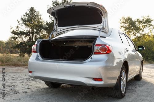 Obraz na plátne Car with open clean empty trunk