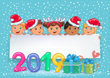 New Year Banner 2019 With Cute Kids