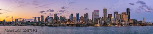 Canvas Print Beautiful Seattle skyline or cityscape from Elliot Bay, Puget Sound, at dusk or sunrise, Washington state, USA