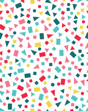 Seamless Pattern With Confetti Of Triangles, Circles And Squares