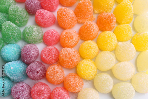 Gummy candies with sugar of many colors