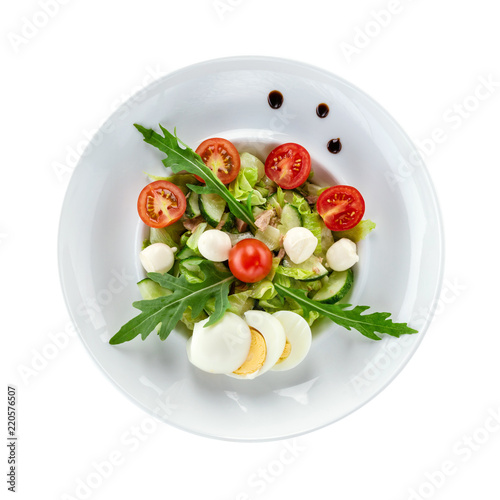 Salad with tuna fish, view from above. With path.