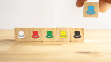 Six Thinking Hats Concept, The Success Way To Under The Human Wear Which Hat When Talking About, The Hats Including Feeling/emotion, Creativity, Awareness, Control, Positive Thinking, Facts