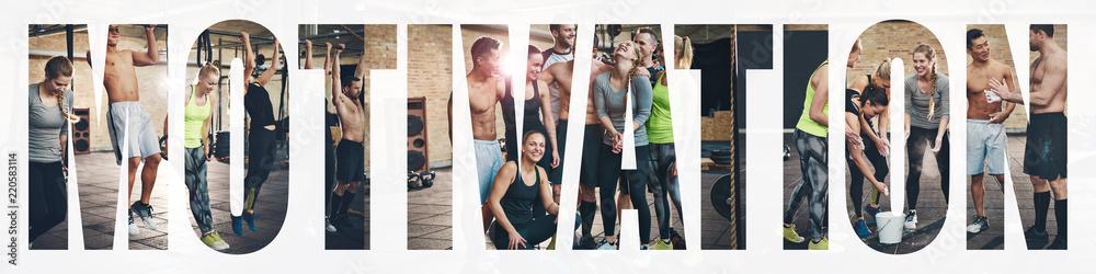 Kolaż uśmiechnięci młodzi ludzie ćwiczy wpólnie przy gym <span>plik: #220583114 | autor: Flamingo Images</span>