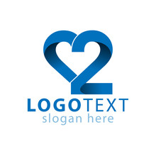 Love 2 Number Logo Icon Vector...