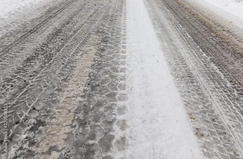 Fotografía  Asphalt in winter