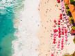 Aerial view of tropical sandy beach with turquoise ocean. Dreamland beach, Bali.