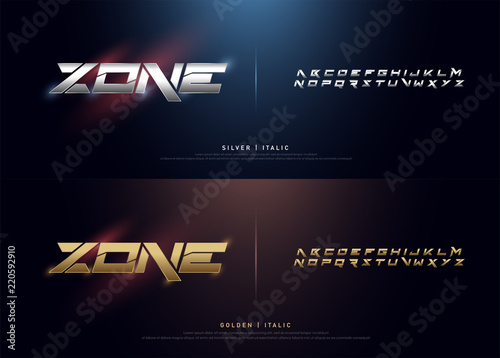 Fotografie, Tablou Elegant Silver and Golden Colored Metal Chrome Alphabet Font